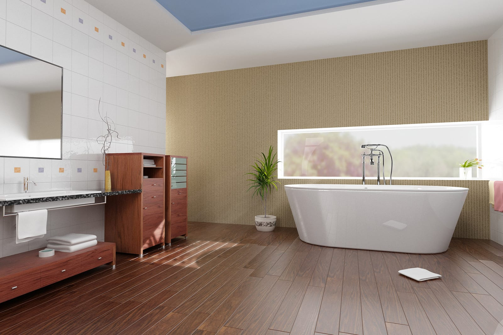 bathroom wooden floor